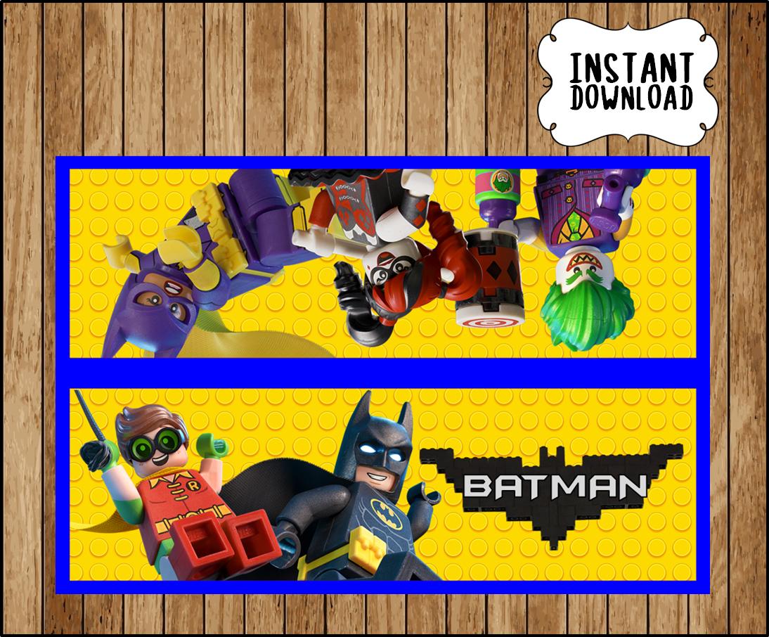 Printable Lego Batman Movie Personalized Birthday Treat Bag Topper