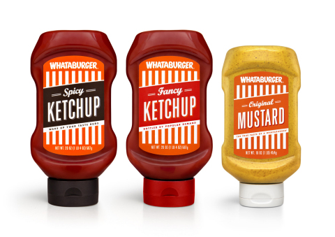 Whataburger's popular condiments - Fancy Ketchup, Spicy Ketchup and Original Mustard - will be bottl ...