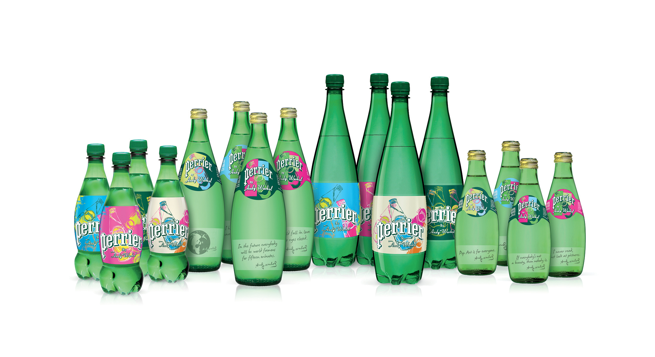 Courtesy of businesswire.com.  Perrier's Andy Warhol collector bottles - available in both glass and plastic.
