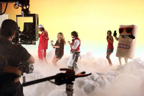 In this image released by HOT POCKETS® brand sandwiches on Tuesday, Oct. 8, 2013 - Snoop Dogg, Kate...