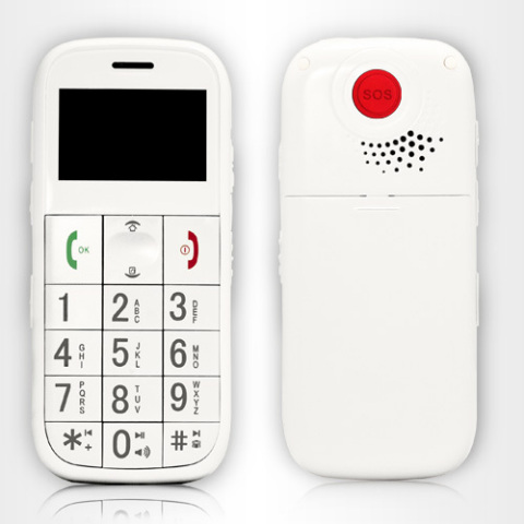 AlertFon, the emergency and medical alert cell phone Red Button on back of AlertFon is panic button  ...