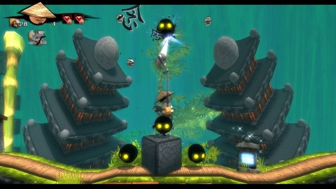 Jump and grapple your way through exotic worlds, dodging obstacles such as fire, collapsing platform ...