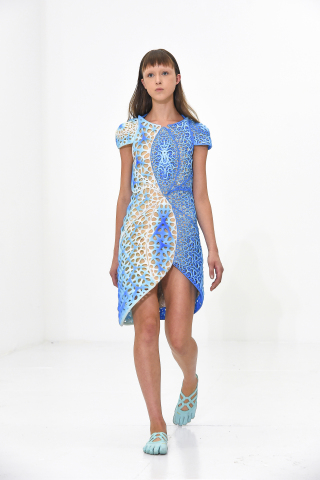 Stratasys 3D printed OSCILLATION dress designed by threeASFOUR in collaboration with Travis Fitch, p ...