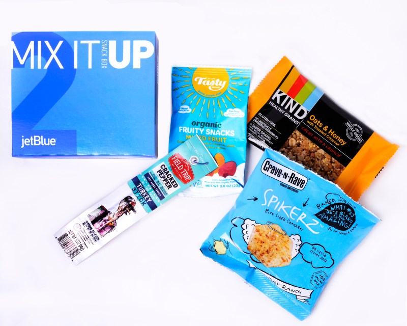 JetBlue's new MixItUp Box: For those craving a little bit of everything, this box offers something sweet, something savory and everything in between with a KIND granola bar, ranch crackers, a Field Trip turkey stick and fruit snacks. (Photo: Business Wire)