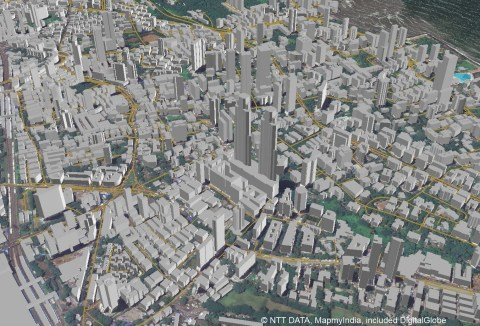 Example 3D map of Mumbai, India that will be offered in the new AW3D India dataset (view from land)  ...