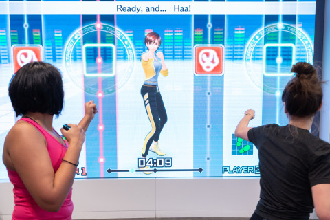 In this photo provided by Nintendo of America, Instagram fitness influencer Niki Klasnic plays the Fitness Boxing game with [Felia M. of Nintendo Power Couple] during a special event at the Nintendo NY store in New York on Jan. 15, 2019. Fitness Boxing is a new rhythm-based boxing game for the Nintendo Switch system that offers variety of training options to help people achieve their fitness goals. (Photo: Business Wire)