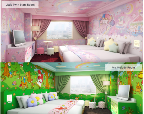 "New Sanrio characters rooms, including two rooms each in the themes of ""My Melody"" and ""Little Twin  ..."