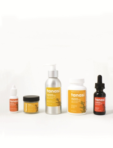 Tanasi family of products. The first CBD product line with a university-patented formula.