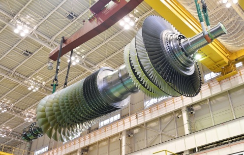 LAKE MARY, Fla., April 15, 2020 — Mitsubishi Hitachi Power Systems' (MHPS) J-Series gas turbine installed fleet today reached one million hours of commercial operation. Shown: MHPS M501JAC rotor at Takasago Works. (Photo: Business Wire)