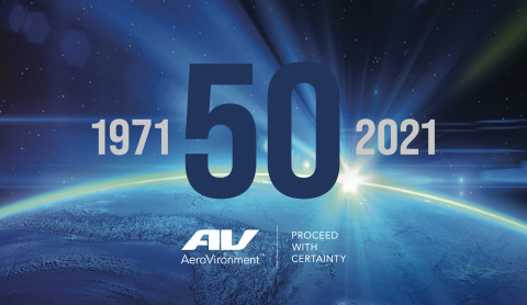 For more information on AeroVironment's 50th anniversary campaign, visit www.avinc.com/50 (Graphic: Business Wire)