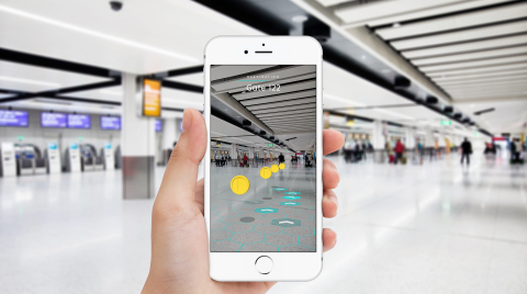 Pointr's Deep Location technology enables AR navigation and location intelligence inside buildings. ( Photo: Business Wire)