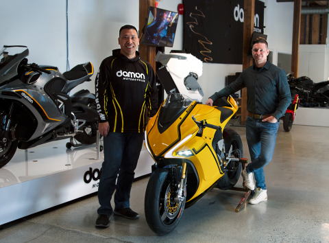 Damon Motors Founders Dominique Kwong (Left) and Jay Giraud (Right) Set New Milestone with $30M in Funding and $20M in Preorders (Photo: Business Wire)
