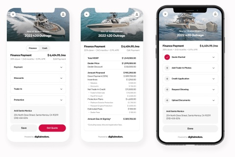 Digital Motors' online retailing solution for boat and yacht retailers makes buying easy, no matter the device. (Graphic: Business Wire)