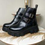 Bota Coturno Feminino Preto de Fivela nas laterais e zíper com sola tratorada Coleção Outono Inverno Loja de Calçados Online MM Store Shoes (6)