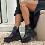 Bota Coturno Feminino Preto de Fivelas e zíper na lateral Sola tratorada moda e tendência Outono Inverno Loja Online mm store shoes (1)