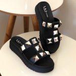 Chinelo Flat Feminino Preto Com Taxas Coleção Verão Loja Online MM Store Shoes (1)