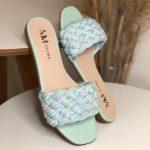 Sandália Rasteira Feminina Verde Menta com Detalhes trançados Tendencia do Verão Coleção Verão Loja Online MM Store Shoes Frete Fixo 19,99 (2)