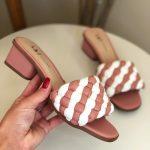 Tamanco Feminino Rose com Branco Salto bloco Baico Conforty Nova Coleção Verão Loja Online MM Store Shoes (14)