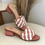 Tamanco Feminino Rose com Branco Salto bloco Baico Conforty Nova Coleção Verão Loja Online MM Store Shoes (19)