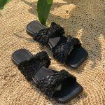 Sandália Rasteira Feminina Preta com Detalhe em Palha Calçados da Moda Nova Coleção Primavera Verão Loja Online Mm Store Shoes (8)