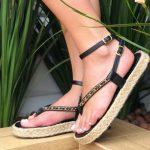 Sandália Papete Feminina Preta com Sola de Corda e Detalhes com Correntes Tendência da Moda Coleção Verão 2022 Loja Online MM Store Shoes (2)