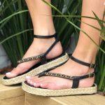 Sandália Papete Feminina Preta com Sola de Corda e Detalhes com Correntes Tendência da Moda Coleção Verão 2022 Loja Online MM Store Shoes (3)