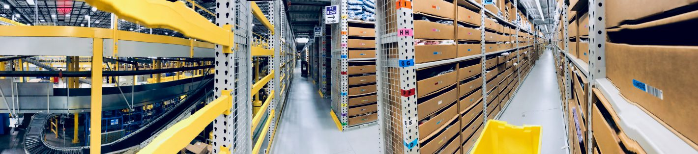 Amazon pano view of the picking module. lots of aisles and bins