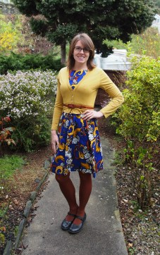 cardigan: my ex-work, dress: made by me, belt: thrifted, tights: witchery, shoes: dr marten