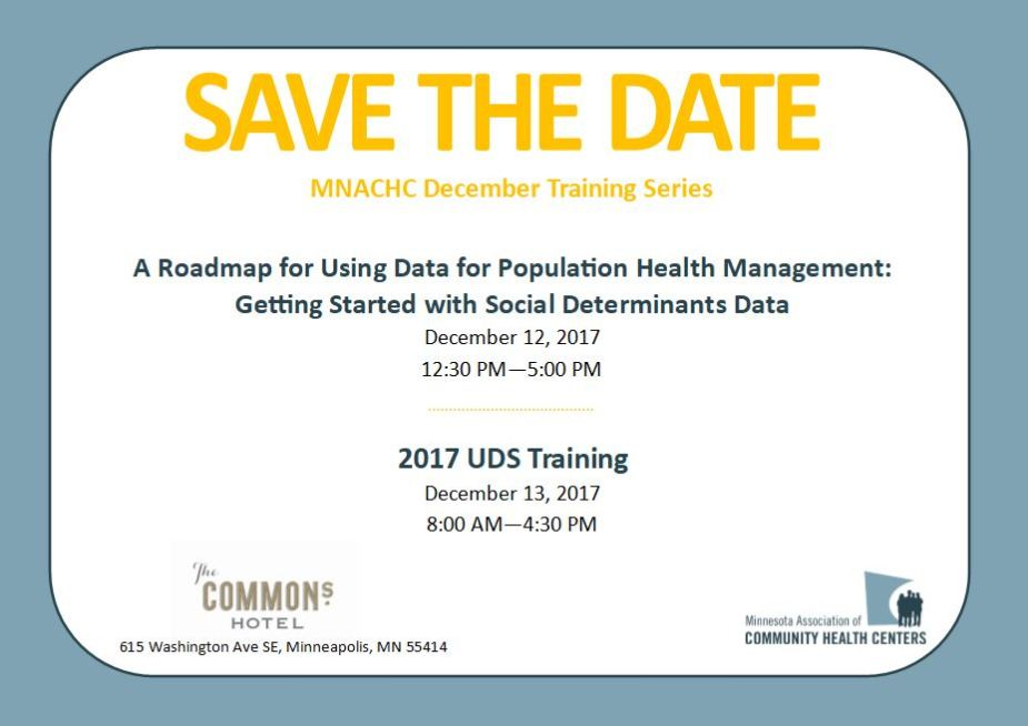 Invitation reads Save the Date for MNACHC Trainings, December 13, 2017