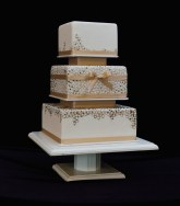 Small Square Ivory Wood Pedestal