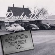 In 1950 the first Dunkin Donut's was opened in Quincy, MA by William Rosenberg. By 1955 he'd opened 5 locations and had licensed the brand. You can still go to the original store today.