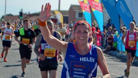 Photo of Helen Barber approaching Finish