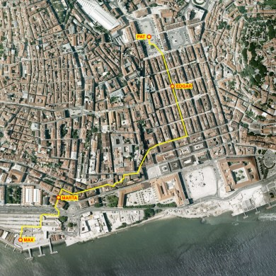 The route of the walk through Lisbon with key locations