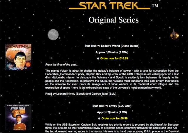 Star Trek Audio Sales