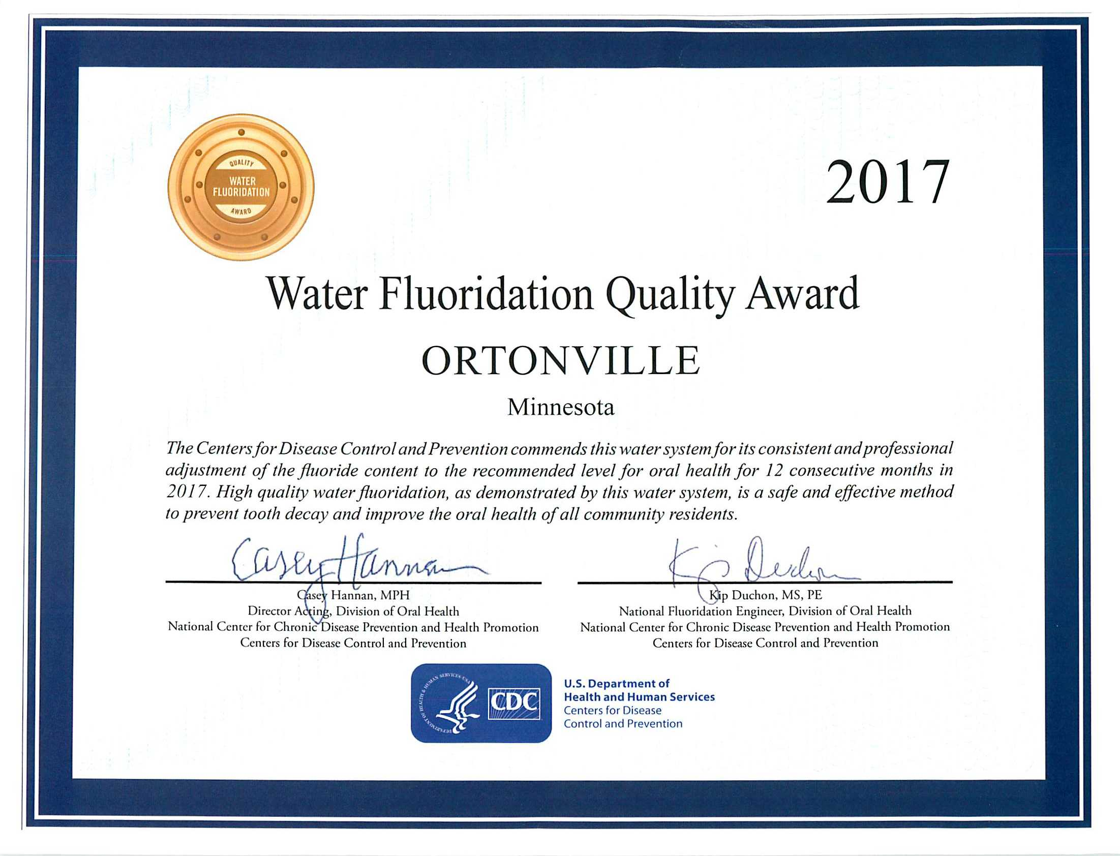Water Quality Award!