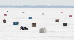There are plenty of ice huts sitting on the frozen Lake Erie near Booth's Harbour. January's 'Polar Vortex' made for good conditions for avid ice fishing enthusiasts. (EDDIE CHAU Simcoe Reformer)
