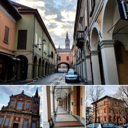 Walking to work in the streets of Pieve di Cento