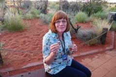 Carol enjoying her kangaroo canapé