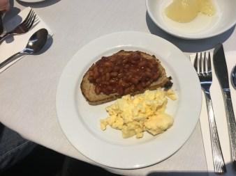 My favorite breakfast-beans on toast and scrambled eggs