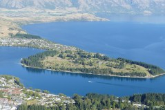 The view of Queenstown golf coarse from the Skyline Restaurant