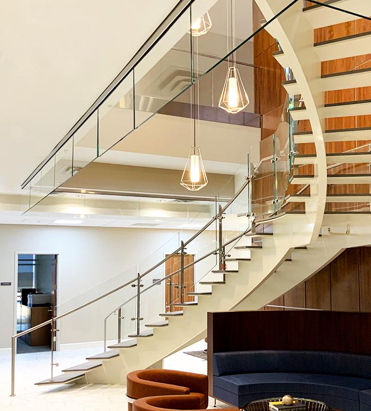 Interior Glass stair railing and smoke baffle