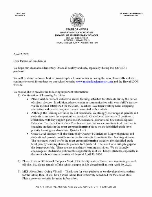 Letter to Parents re Continuation of Learning During School Closure_Page_1