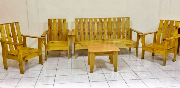 Wooden Lounge Set without Cushions