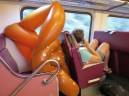 A pretzel inner tube on the commuter rail