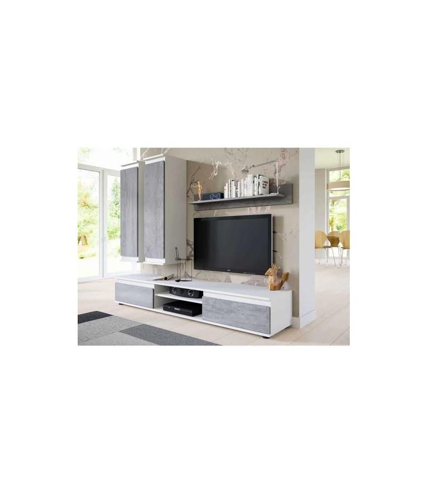 meuble tv suspendu design blanc et beton