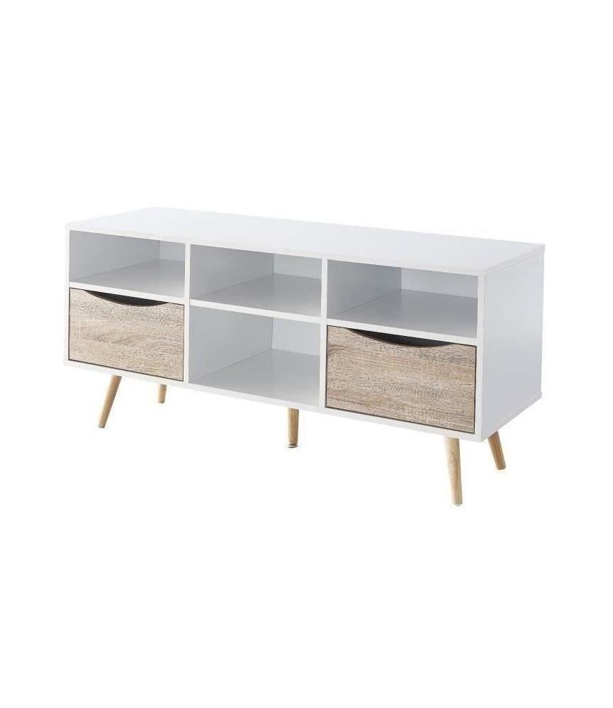 mob meuble tv scandinave blanc et decor chene mat pieds en bois massif l 90 cm