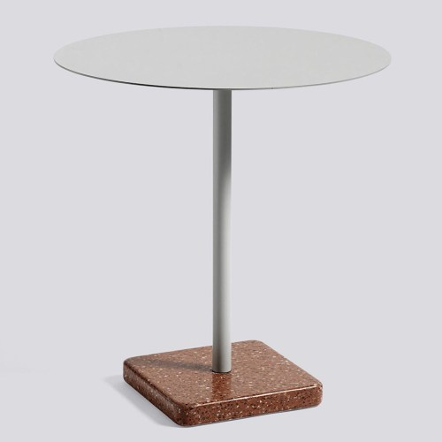 Terrazzo Table Red/Sky Grey 70 cm fra Hay -