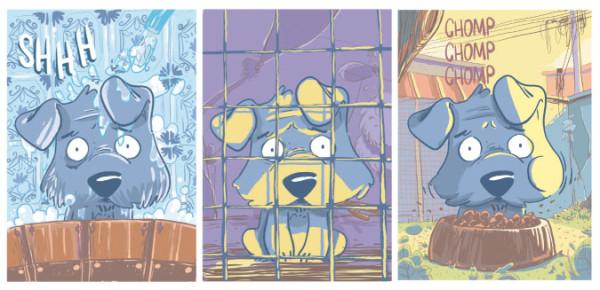 Xi, parece que o cãozinho azul se deu muito, muito mal! Veja em Bidu - Caminhos, de @dudzord e @liper_gomba. #GraphicMSP