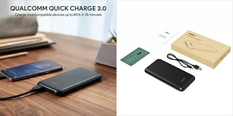 AUKEY(オーキー) USBPD QC3.0対応 10000mAhモバイルバッテリー PB-Y13