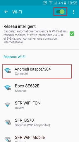 internet Samsung android 5 . x modem et point d'acces wifi